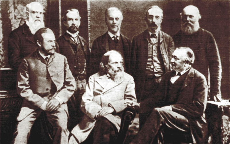 A black and white photograph of the BAAS meeting in Manchester in 1887