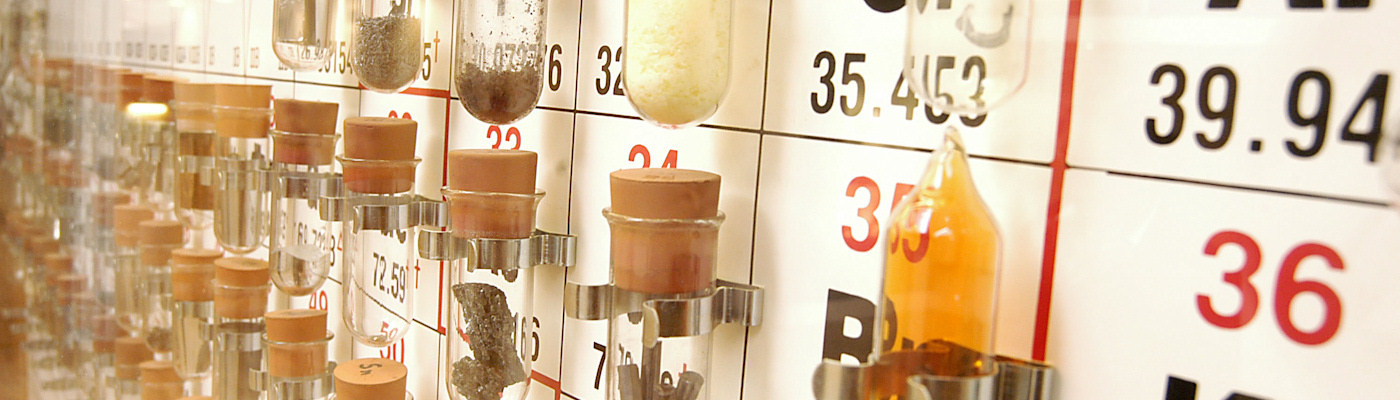 Physical periodic table, with elements in test tubes