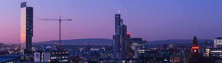 The Manchester skyline at dusk