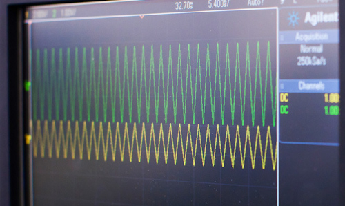 Coloured waveforms on a monitor