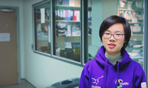 Female student Jiayi Cen being interviewed in the School of Chemistry